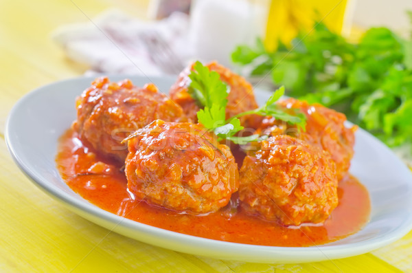meat ball with tomato sauce Stock photo © tycoon