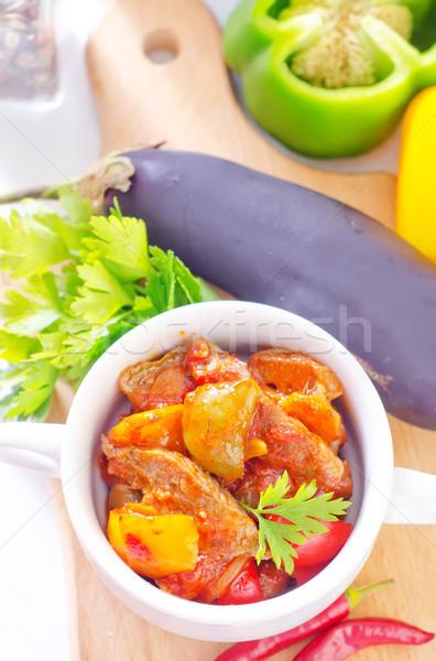 Carne legumes restaurante verde frango Foto stock © tycoon