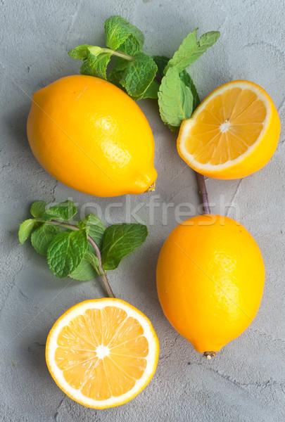 Limon nane taze tablo gıda arka plan Stok fotoğraf © tycoon