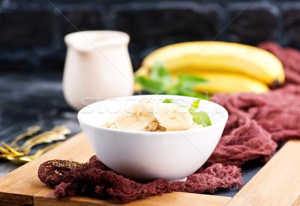 овсяный свежие банан чаши фон молоко Сток-фото © tycoon