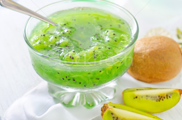 Kiwi atasco vidrio fondo color desayuno Foto stock © tycoon