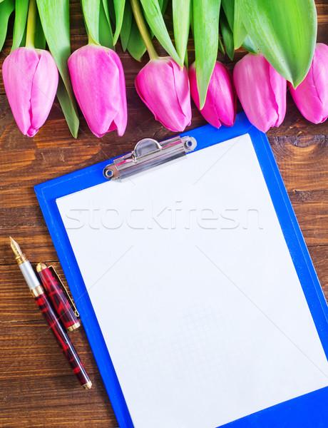Lale dikkat çiçek bahar ahşap doğa Stok fotoğraf © tycoon