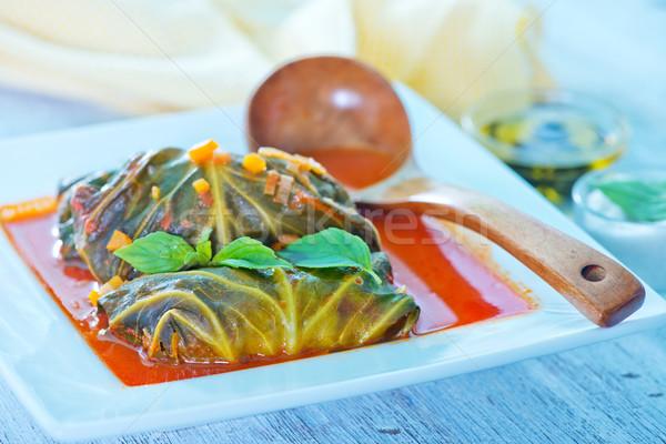 Salsa di pomodoro bianco ciotola alimentare foglia verde Foto d'archivio © tycoon