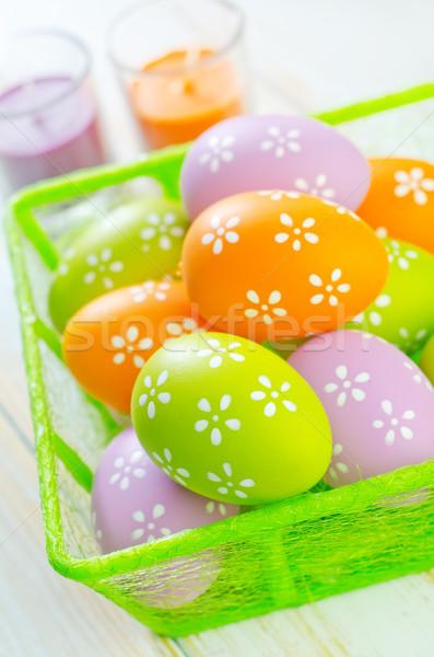 Húsvéti tojások tavasz doboz űr zöld szín Stock fotó © tycoon