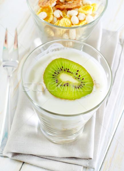 Taze yoğurt müsli cam gıda kahvaltı Stok fotoğraf © tycoon