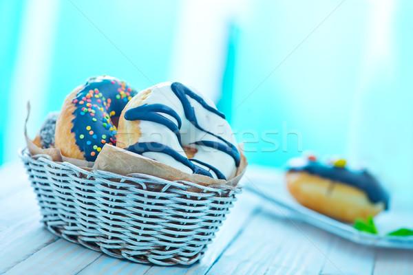 Stok fotoğraf: Tatlı · sepet · tablo · yeşil · kahvaltı