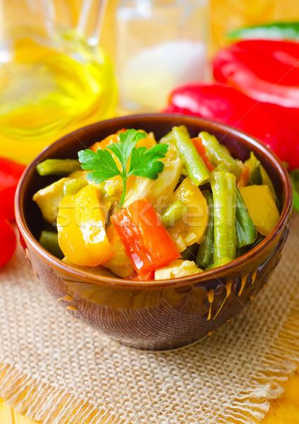 Légumes frais ragoût bol vert viande tomate Photo stock © tycoon