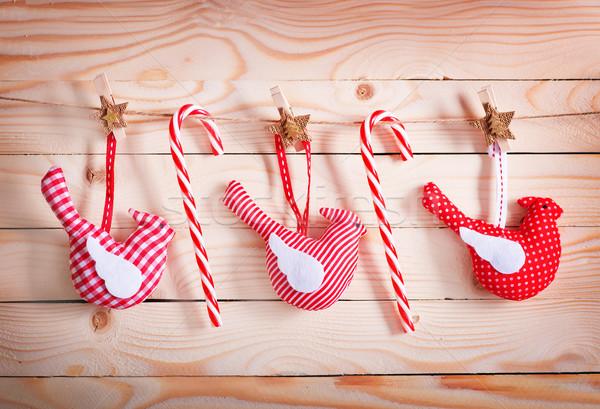 Natale decorazione tavolo in legno carta albero sfondo Foto d'archivio © tycoon