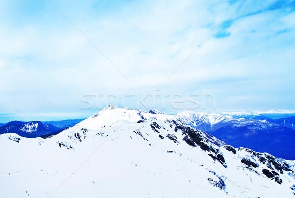 Hegyek Oroszország fehér hó orosz tájkép Stock fotó © tycoon