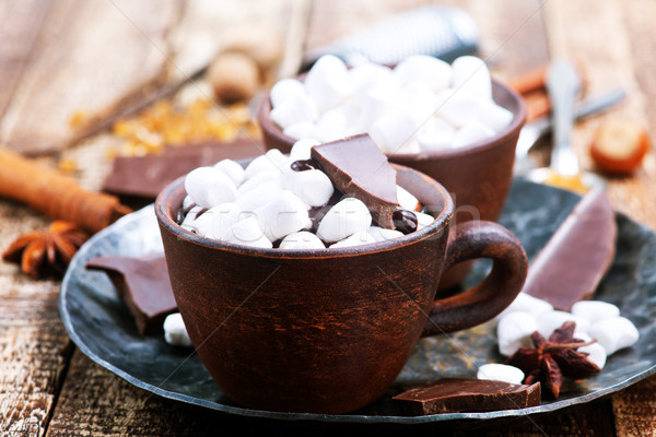 Sıcak çikolata fincan tablo çikolata arka plan süt Stok fotoğraf © tycoon