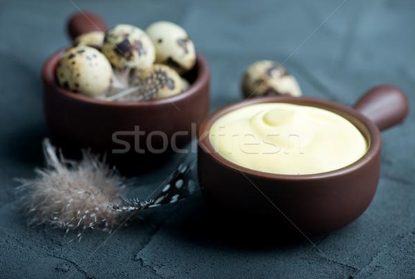 マヨネーズ ボウル 表 油 卵 料理 ストックフォト © tycoon