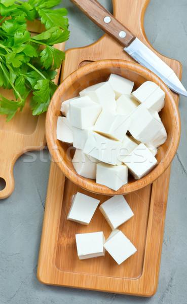 Tofu sajt tál asztal kék tányér Stock fotó © tycoon