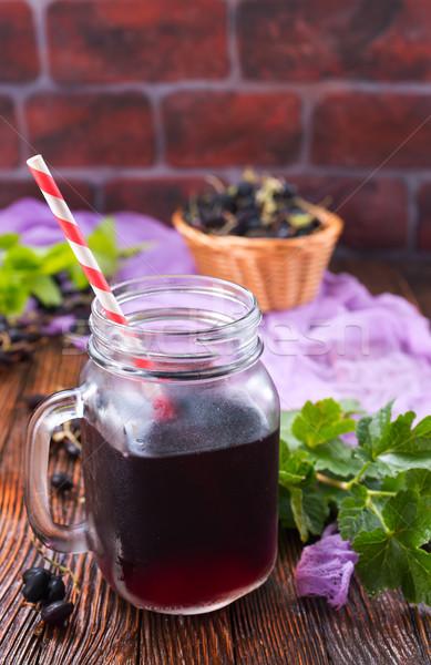 Meyve suyu siyah frenk üzümü cam grup bitki Stok fotoğraf © tycoon