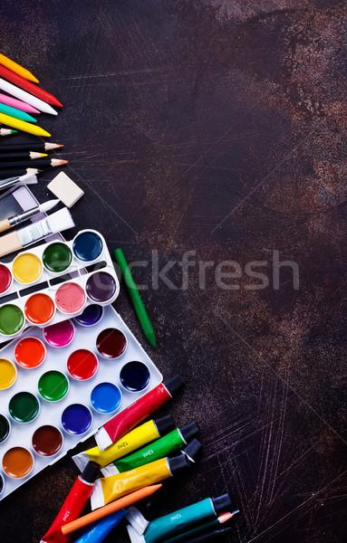 Stock fotó: Tanszerek · asztal · stock · fotó · iskola · háttér