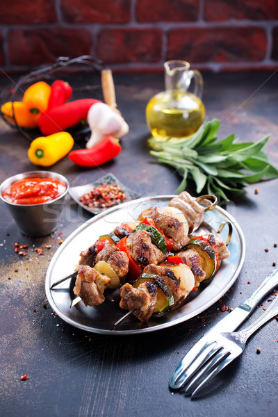 Kebab hús zöldségek friss háttér sötét Stock fotó © tycoon