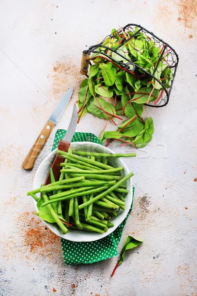 Groene bonen salade kom vers bladeren voedsel Stockfoto © tycoon