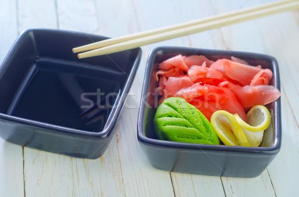 Zencefil wasabi restoran yeşil akşam yemeği Asya Stok fotoğraf © tycoon