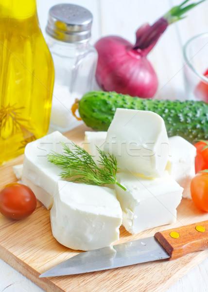 Hozzávalók görög saláta fény vacsora kés Stock fotó © tycoon