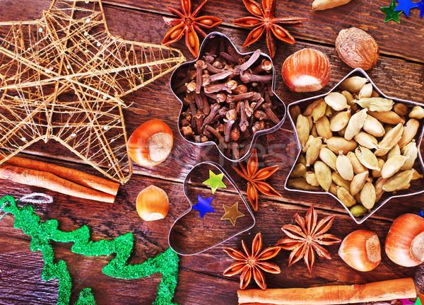 Lezzet baharat Noel kurabiye tablo turuncu Stok fotoğraf © tycoon