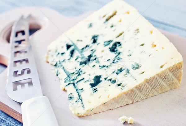 Peynir cam arka plan mavi akşam yemeği taze Stok fotoğraf © tycoon