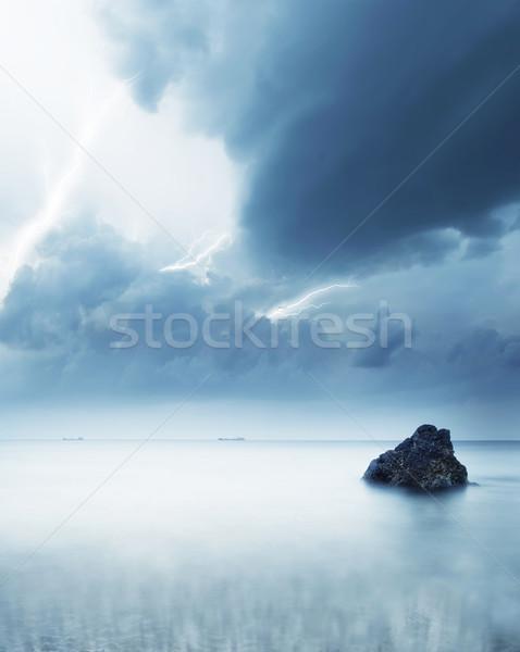 Stok fotoğraf: Fırtına · deniz · ışık · güzellik · okyanus · gece