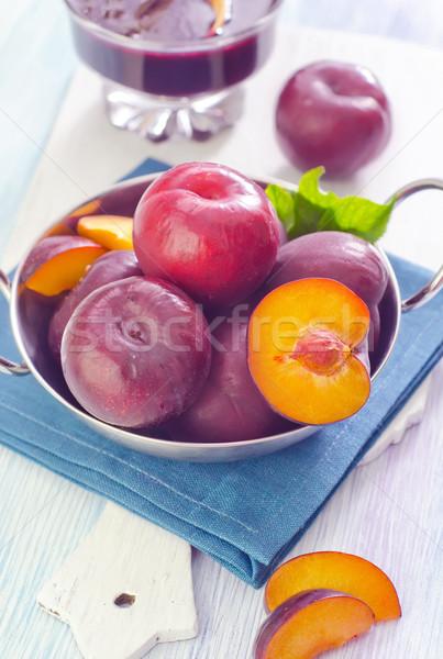 Pruimen natuur blad vruchten eten zoete Stockfoto © tycoon