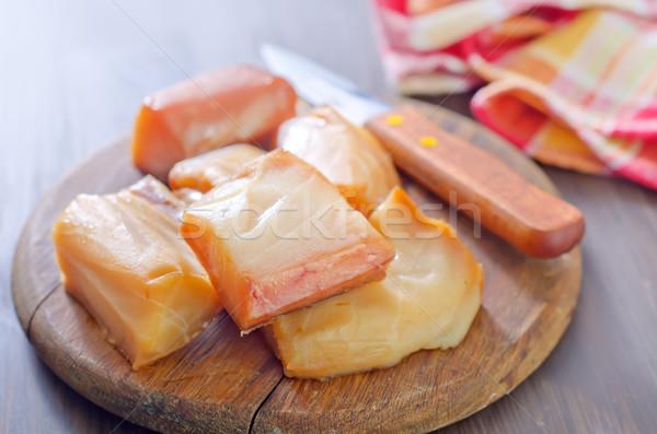 Fumé poissons bord alimentaire bois bleu Photo stock © tycoon
