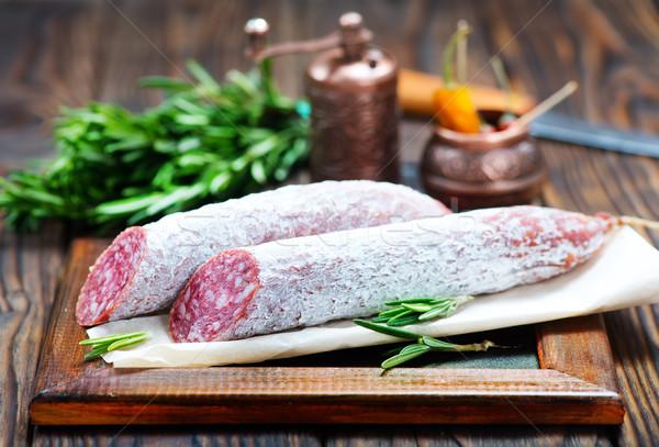 Salami especias bordo alimentos fondo Foto stock © tycoon