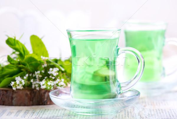 świeże tabeli wody liści szkła Zdjęcia stock © tycoon