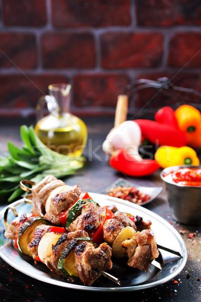 ケバブ 肉 野菜 新鮮な 背景 暗い ストックフォト © tycoon