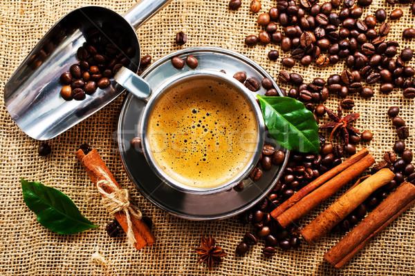 コーヒー コーヒーカップ 木材 背景 煙 スペース ストックフォト © tycoon