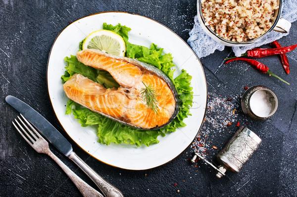 fried salmon Stock photo © tycoon