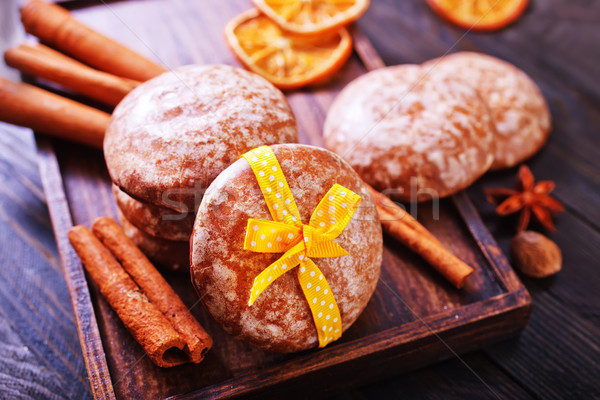 Cookies lumière gâteau orange bleu plaque Photo stock © tycoon