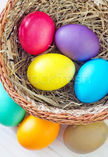 Easter eggs Pasqua sfondo pollo blu divertimento Foto d'archivio © tycoon