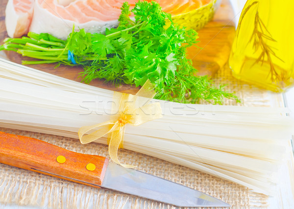 raw rice noodles and raw salmon Stock photo © tycoon