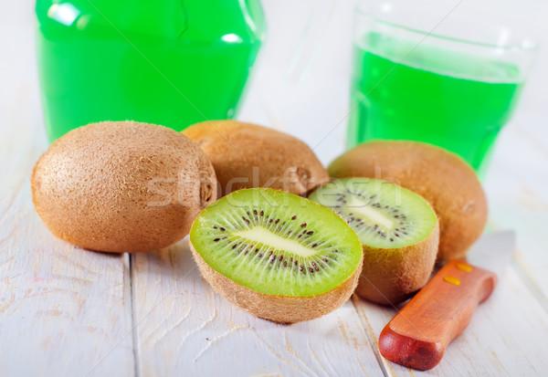 Kivi meyve suyu gıda cam arka plan renk Stok fotoğraf © tycoon