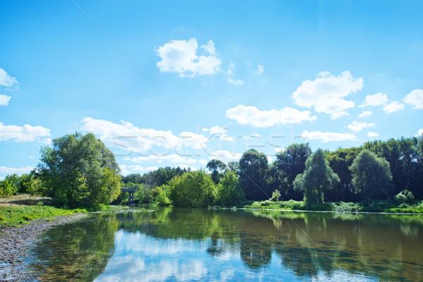 озеро Blue Sky дома дерево весны лес Сток-фото © tycoon