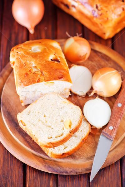 ストックフォト: タマネギ · パン · ボード · 表 · 食品 · 朝食