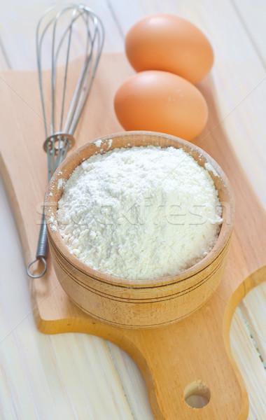 Farina legno uovo cucina tavola grano Foto d'archivio © tycoon
