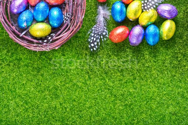 Ostereier Schokolade Eier Farbe Ostern Gras Stock foto © tycoon