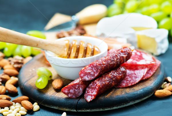 закуски белый пластина таблице красный мяса Сток-фото © tycoon