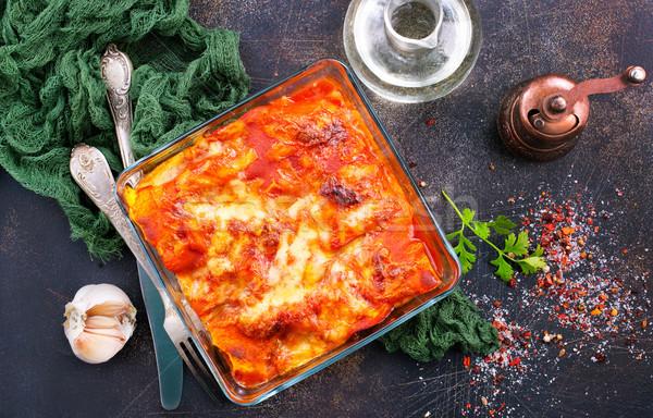 ラザニア トマトソース スパイス デザイン チーズ ストックフォト © tycoon