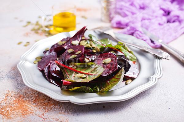 Saláta diók fém tányér tavasz természet Stock fotó © tycoon