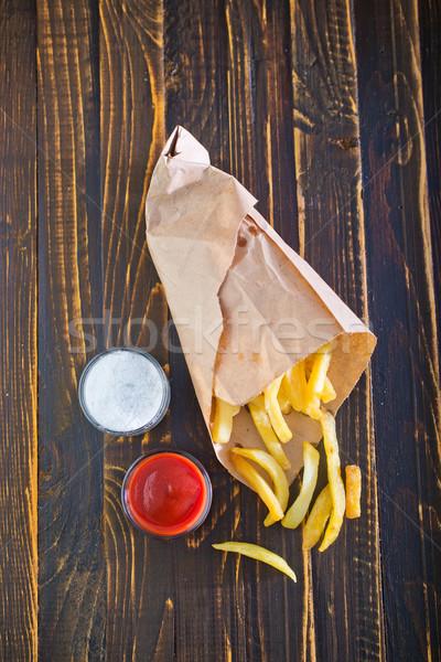 Frietjes weinig witte tomatensaus Stockfoto © tycoon