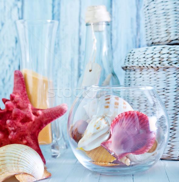 été mer obus verre bol table Photo stock © tycoon