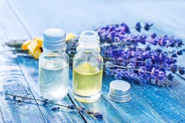 Aroma olie fles tabel bloem glas Stockfoto © tycoon