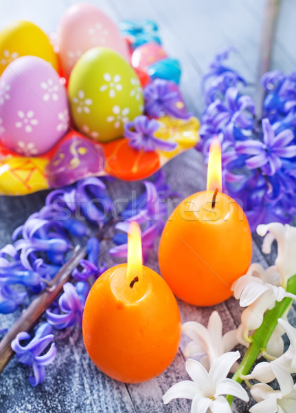 easter eggs and candle Stock photo © tycoon
