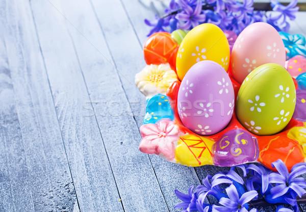 пасхальных яиц цветок дизайна краской яйцо оранжевый Сток-фото © tycoon