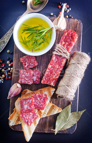 Salame party pane cena grano Foto d'archivio © tycoon