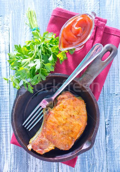Frito carne Óleo garfo aço pimenta Foto stock © tycoon